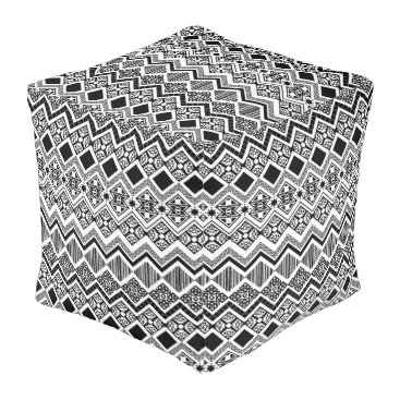 Aztec Themed Black and White Aztec design Pouf