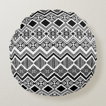 Aztec Themed Black and White Aztec design Round Pillow