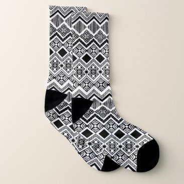 Aztec Themed Black and White Aztec design Socks