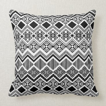 Aztec Themed Black and White Aztec design Throw Pillow