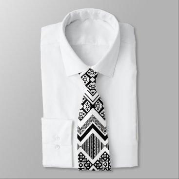 Aztec Themed Black and White Aztec design Tie