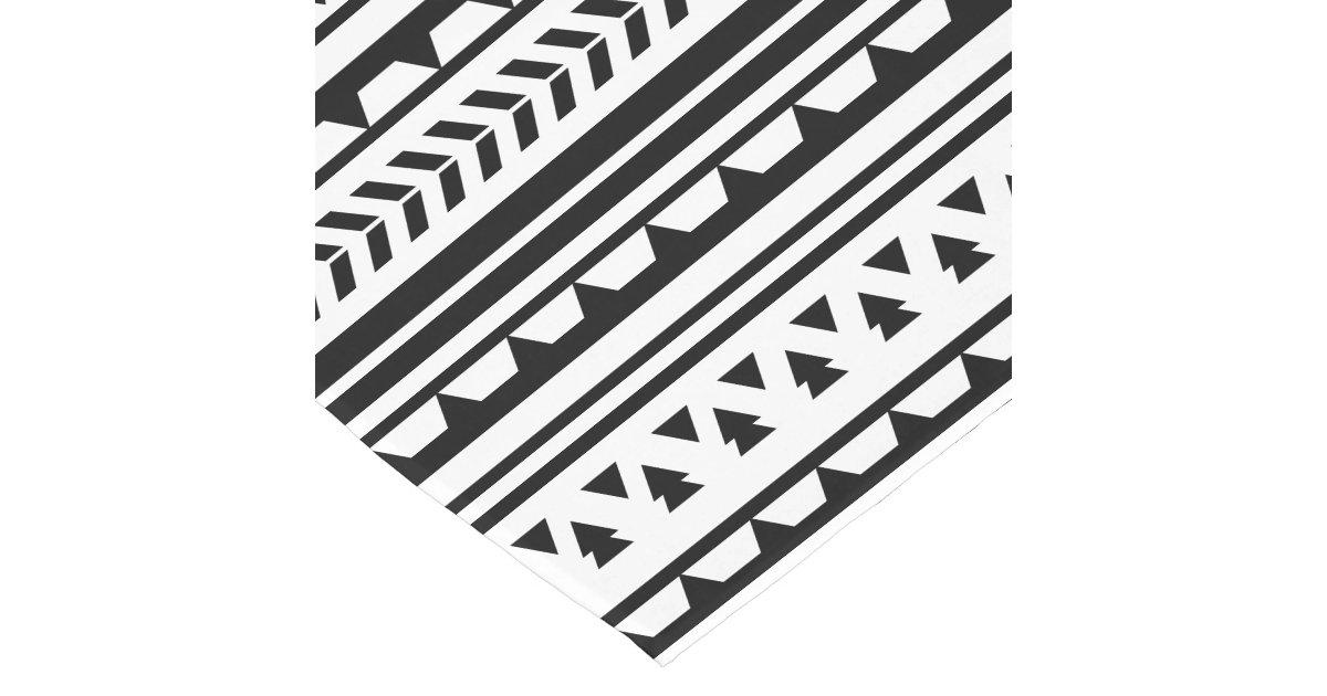 Black and White Aztec Geometric Triangle Pattern Short