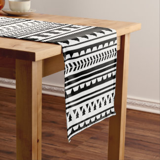 Black and White Aztec Geometric Triangle Pattern Short Table Runner