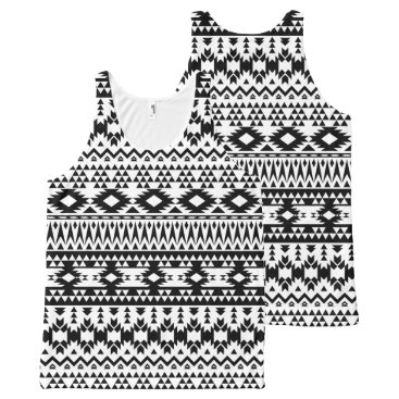 Aztec Themed Black and White Aztec geometric vector pattern All-Over-Print Tank Top