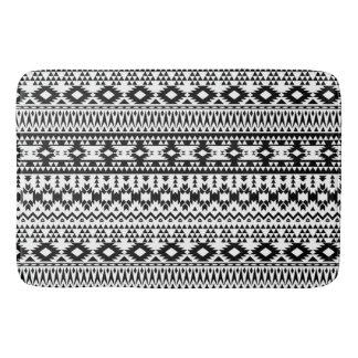 Black and White Aztec geometric vector pattern Bath Mat