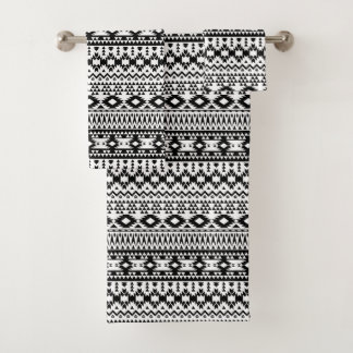 Black and White Aztec geometric vector pattern Bath Towel Set