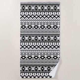 Black and White Aztec geometric vector pattern Beach Towel