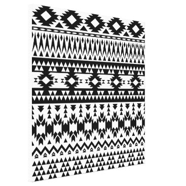 Aztec Themed Black and White Aztec geometric vector pattern Canvas Print