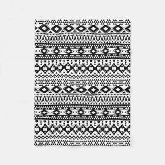 Black and White Aztec geometric vector pattern Fleece Blanket