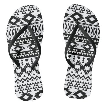 Aztec Themed Black and White Aztec geometric vector pattern Flip Flops