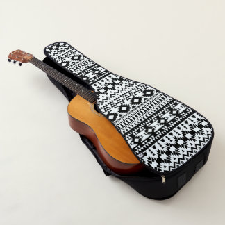 Black and White Aztec geometric vector pattern Guitar Case
