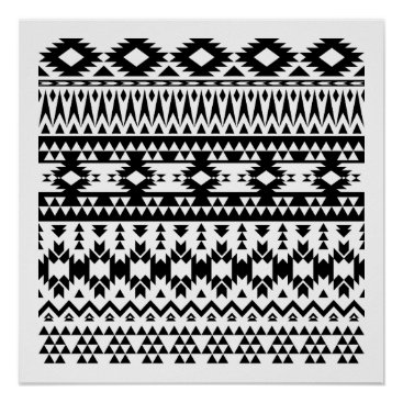 Aztec Themed Black and White Aztec geometric vector pattern Poster