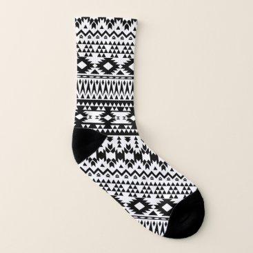 Aztec Themed Black and White Aztec geometric vector pattern Socks