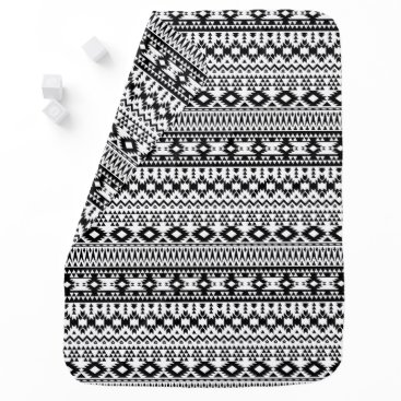 Aztec Themed Black and White Aztec geometric vector pattern Swaddle Blanket