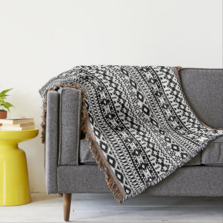 Black and White Aztec geometric vector pattern Throw Blanket
