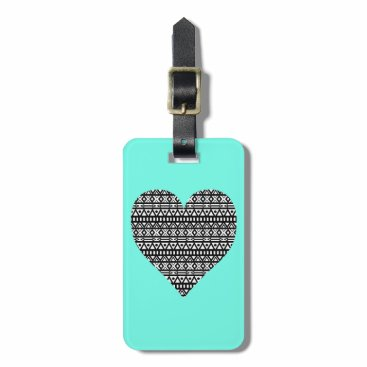 Aztec Themed Black and White Aztec Heart Bag Tag