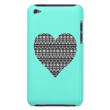 Aztec Themed Black and White Aztec Heart Barely There iPod Case