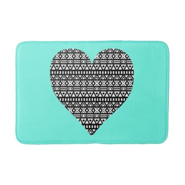 Aztec Themed Black and White Aztec Heart Bathroom Mat