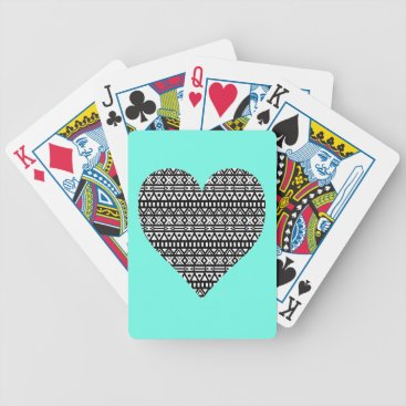 Aztec Themed Black and White Aztec Heart Bicycle Playing Cards