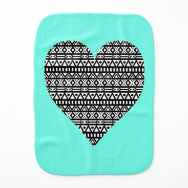 Aztec Themed Black and White Aztec Heart Burp Cloth
