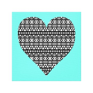 Aztec Themed Black and White Aztec Heart Canvas Print