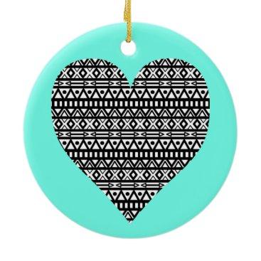 Aztec Themed Black and White Aztec Heart Ceramic Ornament