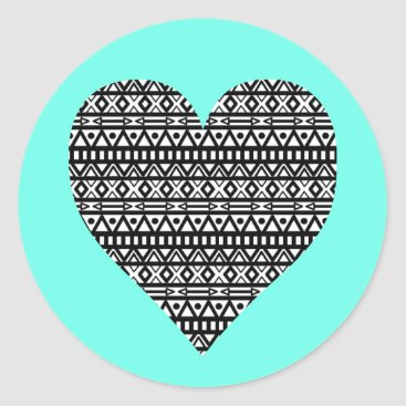 Aztec Themed Black and White Aztec Heart Classic Round Sticker
