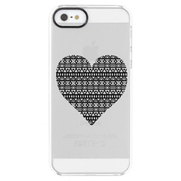 Aztec Themed Black and White Aztec Heart Clear iPhone SE/5/5s Case