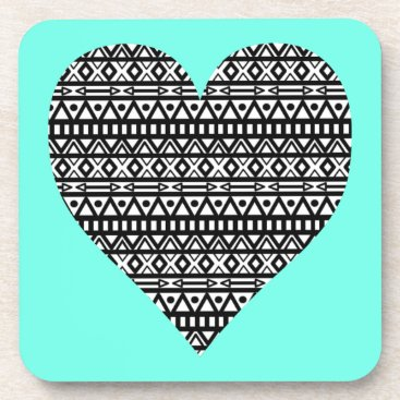 Aztec Themed Black and White Aztec Heart Coaster