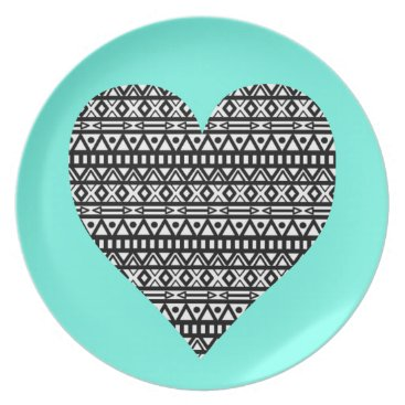 Aztec Themed Black and White Aztec Heart Dinner Plate