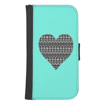 Aztec Themed Black and White Aztec Heart Galaxy S4 Wallet Case