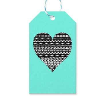 Aztec Themed Black and White Aztec Heart Gift Tags