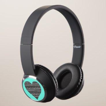 Aztec Themed Black and White Aztec Heart Headphones