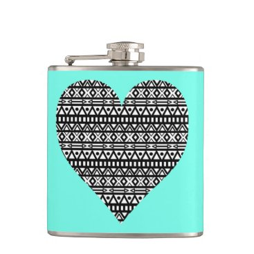 Aztec Themed Black and White Aztec Heart Hip Flask