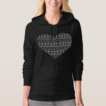 Aztec Themed Black and White Aztec Heart Hoodie