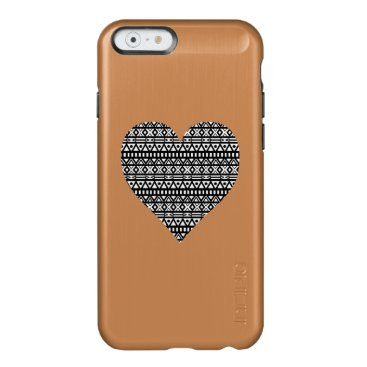Aztec Themed Black and White Aztec Heart Incipio Feather Shine iPhone 6 Case