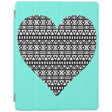 Aztec Themed Black and White Aztec Heart iPad Smart Cover