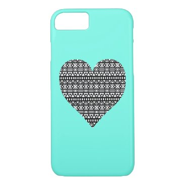 Aztec Themed Black and White Aztec Heart iPhone 7 Case