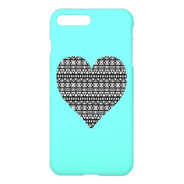 Aztec Themed Black and White Aztec Heart iPhone 7 Plus Case