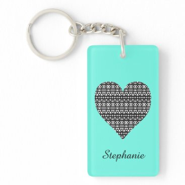 Aztec Themed Black and White Aztec Heart Keychain