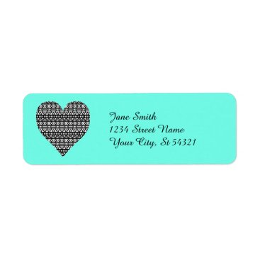 Aztec Themed Black and White Aztec Heart Label