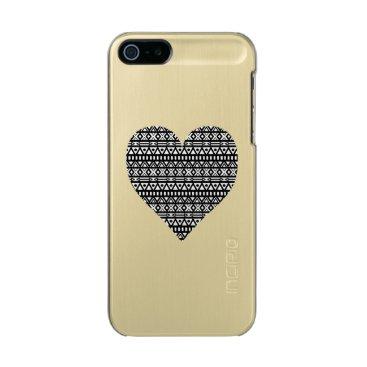 Aztec Themed Black and White Aztec Heart Metallic iPhone SE/5/5s Case