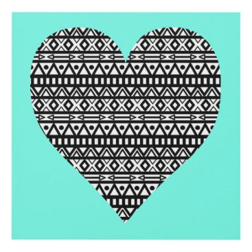 Aztec Themed Black and White Aztec Heart Panel Wall Art
