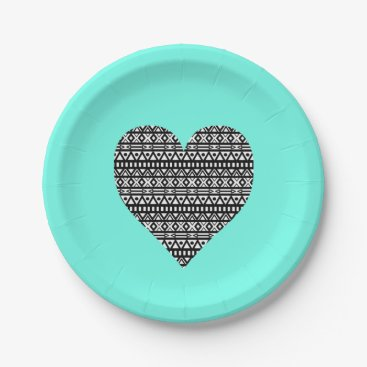 Aztec Themed Black and White Aztec Heart Paper Plate