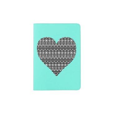 Aztec Themed Black and White Aztec Heart Passport Holder