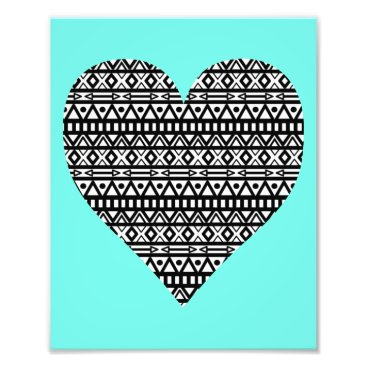 Aztec Themed Black and White Aztec Heart Photo Print
