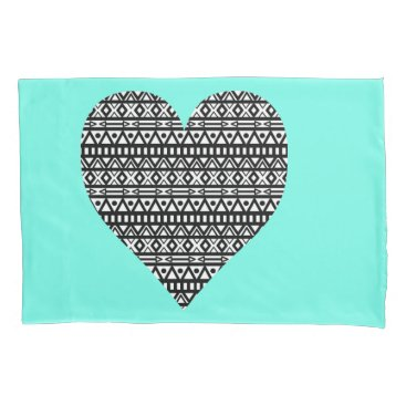 Aztec Themed Black and White Aztec Heart Pillowcase