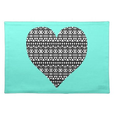 Aztec Themed Black and White Aztec Heart Placemat