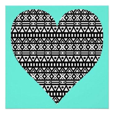 Aztec Themed Black and White Aztec Heart Poster