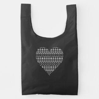 Black and White Aztec Heart Reusable Bag